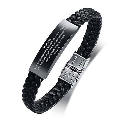 PJ JEWELLERY to My Son Gift from Mom Always Remember Leather Bracelets Birthday Graduation Anniversary Inspirational Gift for Men Boy