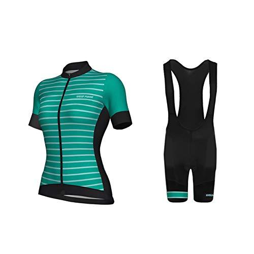 Uglyfrog Radsportbekleidung, Kurzarmtrikot und Short Culotte für Damen, Fahrradbekleidung mit Radfahren Latzhose, Lycra, Atmungsaktiv, Elastisch