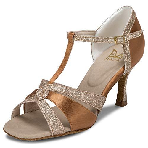 JIA JIA 20519 Damen Sandalen Ausgestelltes Heel Super-Satin mit funkelnden Glitter Latein Tanzschuhe Farbe Braun,Größe 39 EU