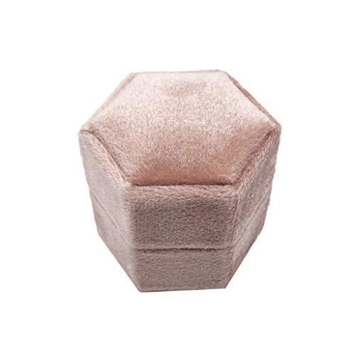 Viesky Velvet Single Ring Box Zeshoek Valentijnsdag Ring Box met Afneembaar Deksel Q