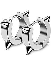 One pair Men's punk earrings titanium steel European and American rock ear clips street hip hop earrings silver