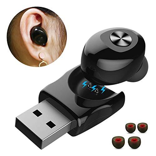 Auricular Bluetooth, HUNDA Auricular Invisible Bluetooth 5.0 y EDR, Manos Libres y Cancelación de Ruido, In Ear Auriculares con Micrófono para Hacer Lamadas en Coche y Oficina etc- Negro