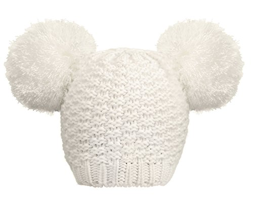Livingston Women's Winter Chunky Knit Double Pompom Ears Beanie Hat, White - http://coolthings.us