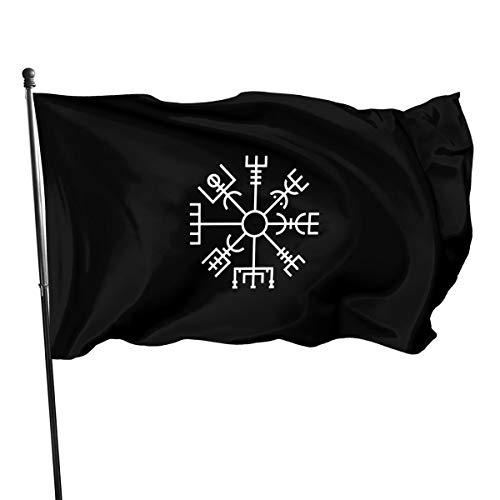 FTflag Outdoor-Flagge 90 x 150 cm, Wikinger-Symbol, nordischer Kompass, Snapback, dekorative Flagge für Hinterhof, Zuhause, Party