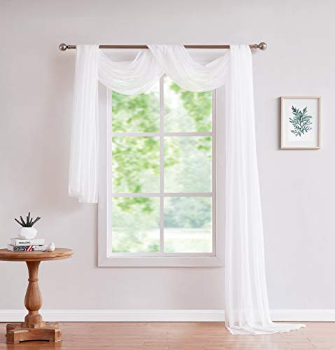 LinenZone Amazing Sheer Window Scarf Fabric Sheer Voile Curtain for Window Treatment - Add to Window Curtains for Enhanced Effect (56'x144', White)