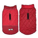 Manteau pour chien d'hiver imperméable pour chien chaud gilet rembourré pour chien hiver Vêtements pour chien moyen et grand - Rouge - XXXL