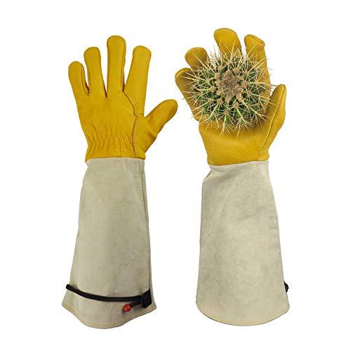 GLOSAV Gardening Gloves Thorn Proof for Rose Pruning & Cactus Trimming, Long Leather Garden Gloves for Women & Men (Medium)