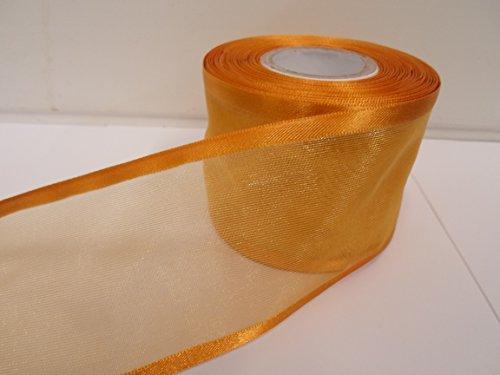 Beautiful Ribbon 1 Rouleau de 70 mm 7cm avivés Ruban Organza x 25 mètres Or foncé Double Face Satin Edge Pure 70 mm