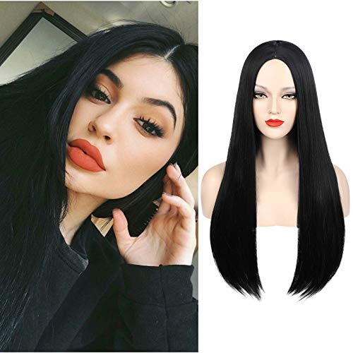 Mersi Black Wigs for Women Girls Addams Costume Cosplay Long Straight Hair Wig Natural Fashion Cute Synthetic Wigs for Daily Party Cosplay S034BK