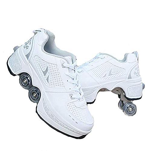 WWWlck Deformation Schuhe Kinder Studenten Rollschuhe Quad Skateboard Schuhe Skaten Outdoor-Sport Rollschuhe Faul Reisemodus,Weiß,38