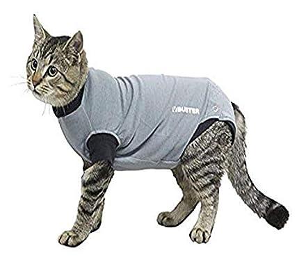 Buster Easygo - Body para gatos, Negro/Gris, XS (38.5 cm)