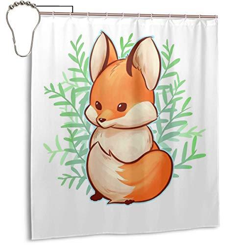 Duschvorhang für Badezimmer, süßes kleines Fuchs-Stoff, Duschvorhang-Set mit Haken, dekoratives Badezimmer-Zubehör, 167,6 x 182,9 cm
