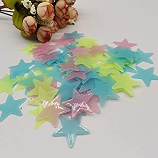 Wall Stickers - 100pcs 3D Wallpaper Luminous Stars Pasted Luminous Wall Pasted with Kids Baby Room Fluorescent Pasted Bedr...