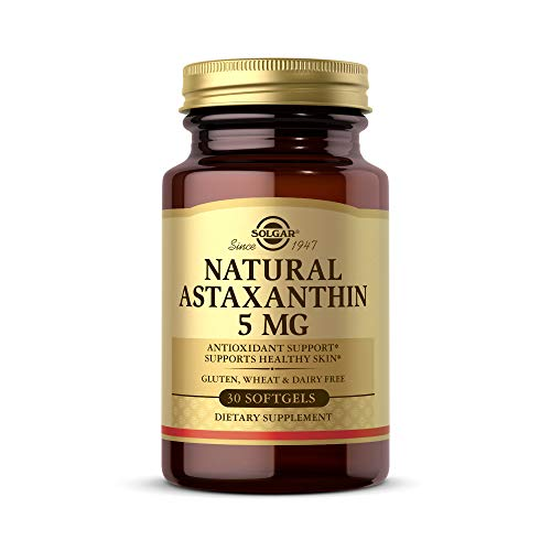 Solgar Natural Astaxanthin 5 mg, 30 Softgels - Potent Antioxidant Protection, Supports Healthy Skin Glow - with Naturally Occurring Lutein & Beta Carotene - Gluten Free, Dairy Free - 30 Servings