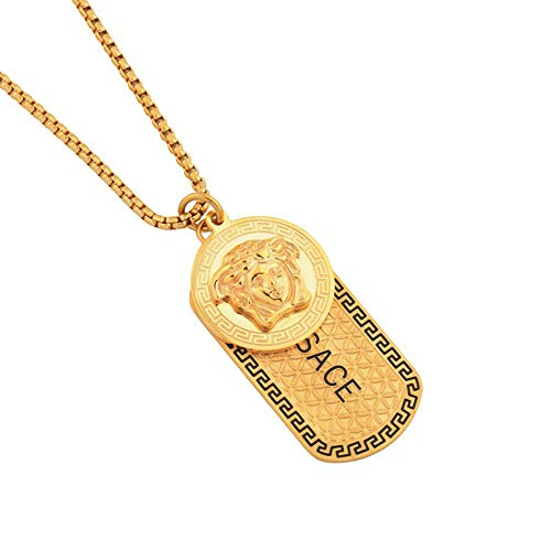 Herren Titanium Stahl Hip Hop Eiskette Panzerkette Breite Edelstahl Medusa Halske Anhänger Halskette Klassische Herrenschmuck Halskette,Gold