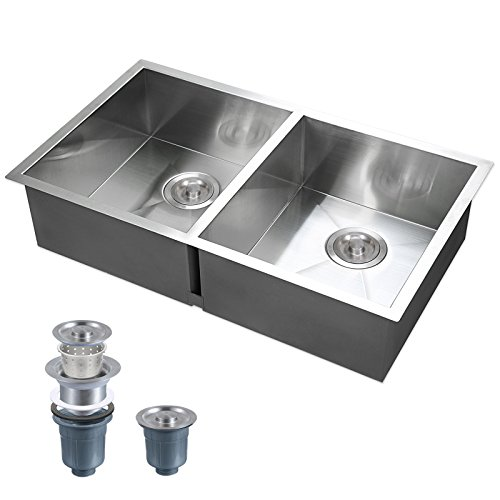 Voilamart 30 Inch 50/50 Double Bowl Stainless Steel Kitchen Sink Undermount Topmount Drop-In Handmade Laundry Sink