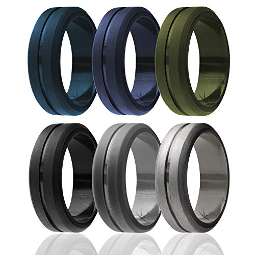 ROQ Silicone Wedding Ring for Men, Set of 6 Elegant, Affordable Silicone Rubber Wedding Bands, Brushed Top Beveled Edges - Medical Grade Silicone - Silver, Black, Grey, Green, Blue Colors - Size 14