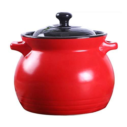 Casserole en Céramique Rouge Grande Capacité Seau De Bouillie pour La Santé À Haute Température Composé Shabu-Shabu Feu Ouvert Maison Gaz MUMUJIN (Taille : 6L)