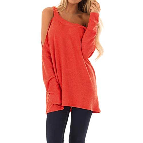 Longra T-shirt, dames, zomer, schoudervrij, sport-T-shirt, korte mouwen, ronde hals, top, casual, pullover, overhemd