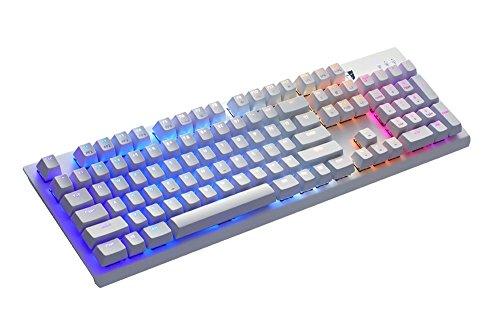 Tesoro Gram SE Spectrum Optische Gaming Tastatur Weiß QWERTZ Deutsches Tastaturlayout mit individuell Einstellbarer RGB Beleuchtung und Tesoro Optical Red Switches