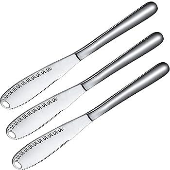 3 Pack Stainless Steel Butter Spreader Knife 3 in 1 Kitchen Gadgets Curler Butter Grater Multi-Function Butter Spreader and Grater with Serrated Edge Shredding Vegetables Fruits