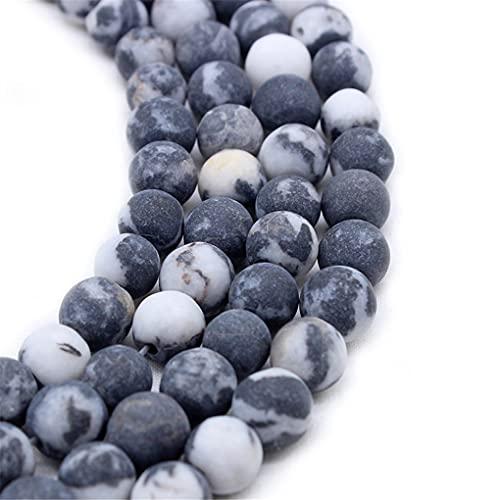 Piedra natural mate mate negro blanco cebra jaspe redondo cuentas sueltas para hacer joyas pulsera 4 6 8 10 12 mm 15 pulgadas negro 12mm aprox 30beads
