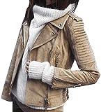 ORANDESIGNE Chaqueta de Cuero para Mujer Retro Sólido Cremallera Chaqueta de Moto Fresco Ocasional de Manga Larga Otoño Abrigo de Invierno Outwear Marrón XS