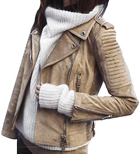 ORANDESIGNE Giacca Corta da Donna in Pelle PU Giacca PU Biker Giacca per l'autunno e l'inverno Biker Motocicletta Giacchetto (Marrone, m)