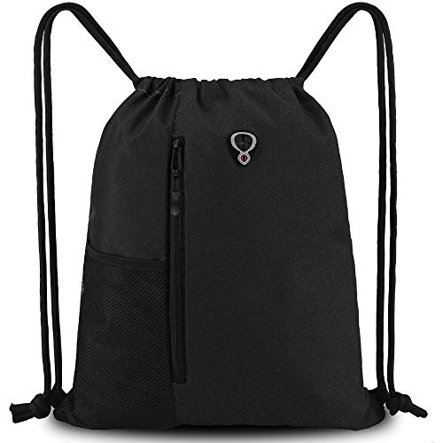 BeeGreen Drawstring-Gym-Bag for Men&Women Black Sport String Backpack with Water Bottle Mesh Pockets&Front Zippered Pocket