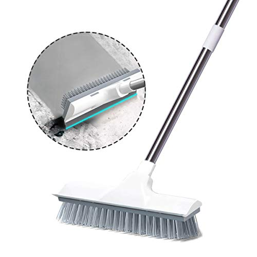 Floor Scrub Brush with Long Handle, 2 in 1 Scrape and Brush Stiff Bristle Shower Cleaning Brush Adjustable Long Reach Scrubber Brush for Cleaning Tile, Kitchen, Bathroom, Patio, Wall and Deck