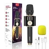 ERAY Micrófono Karaoke Bluetooth, Micrófono Inalámbrico Karaoke 5 en 1, 2 Altavoces Incorporados, 3.5mm AUX, Compatible con Smartphone, Buen Regalo para los Niños o Adultos, Color Negro (Modelo H36)