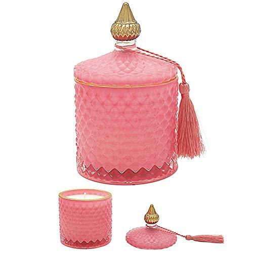 LEONARDO Desire Velvet Rose and Oud - Vela aromática en tarro con tapa de cristal artesanal con caja de presentación