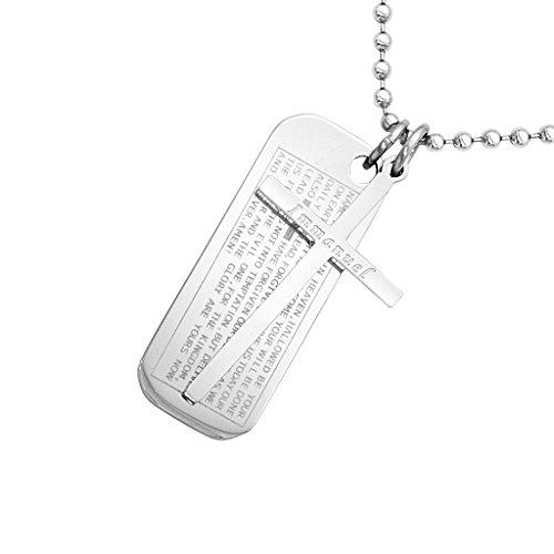 gazechimp Mens Inglês Bíblia Dog Tag aço Inoxidável Pingente Bead Chain Necklace