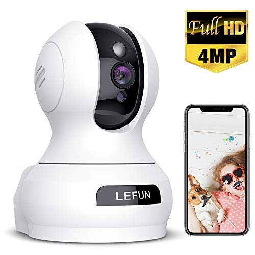 Wireless Security Camera, Lefun 4MP WiFi Baby Monitor Surveillance IP Home Camera with Sound Detection Motion Tracking Two Way Audio Cloud Service Night Vision Supports 2.4GHz Network for Pets Babies Cameras Dome Pet Technology