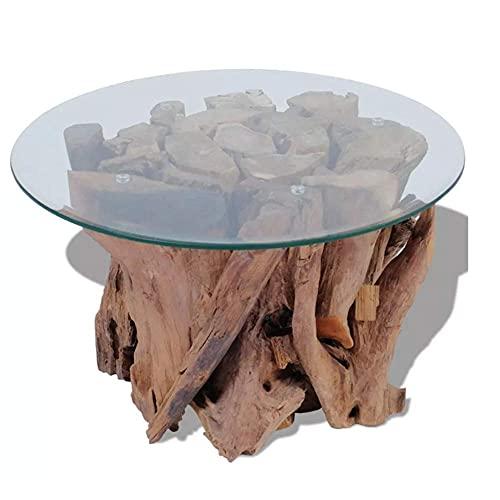 Mesa auxiliar rústica con base de teca maciza y natural, hecha a mano, con mesa de cristal templado para jardín al aire libre, patio adecuado para patio interior y exterior
