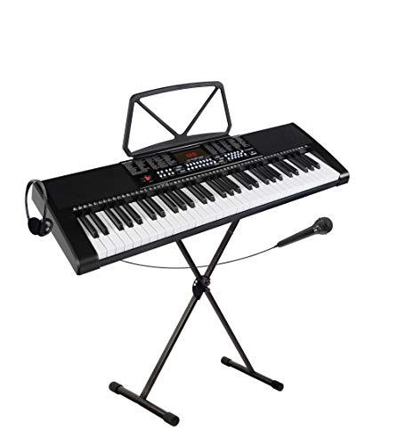 McGrey LK-6120-MIC Keyboard Set - Einsteiger-Keyboard mit 61 Leuchttasten - 255 Sounds und 255 Rhythmen - 50 Demo Songs - Inklusive Mikrofon - Spar-Set inkl. X-Keyboardständer und Kopfhörer - Schwarz