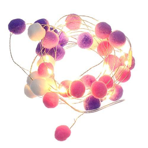 Cotton Ball String Light Woolen Ball Light Room Ornament Without Battery
