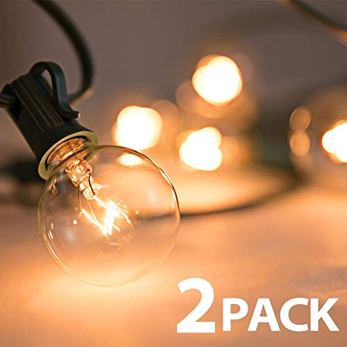 addlon 2 Pack 50Ft G40 Globe String Lights with Clear Bulbs, Backyard Patio Lights Hanging Indoor/Outdoor String Lights for Bistro Pergola Deckyard Tents Market Cafe Gazebo Porch Letters Party Decor,