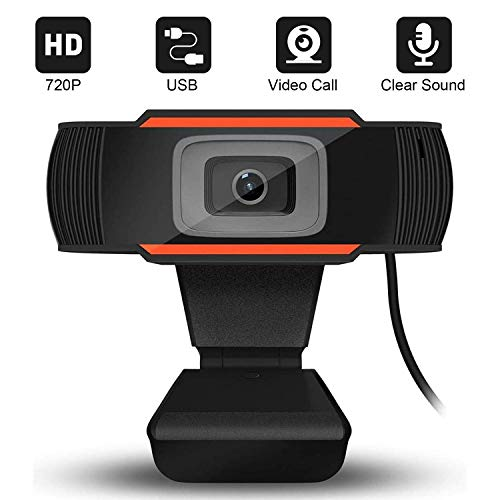 Cxjff Webcam HD 720P mit Mikrofon, Flexible Drehbare Clip, mit großem Bildschirm USB-Computer-Kamera for PC Mac Laptop Desktop Video Conferencing aufrufen Recording