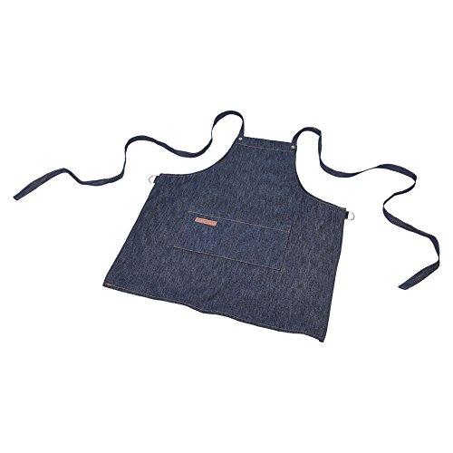 Denim-schort, denim-schort, keukenwerkschort restaurant-koffiewerk uniform met grote zakken, halsgesp
