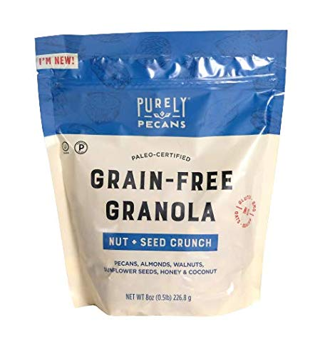 Purely Pecans Keto Grain-Free Granola | Low Carb Keto Certified Cereal | Low Sugar Paleo Certified | All Natural Granola With No Oats | Stay Fuller For Longer With Gluten-Free Plain Granola, 8 Ounces