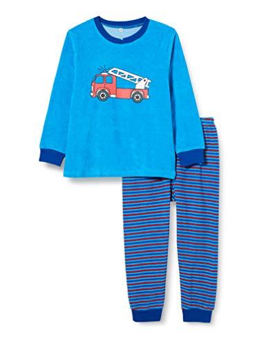 Playshoes Jungen Frottee Feuerwehr Zweiteiliger Schlafanzug, Blau (Blau 7), 116