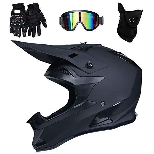 UIGJIOG Negro Mate Casco de Motocross, para Adultos, con Guantes/máscara/Gafas, Unisex, Casco de Moto de Cross, Casco de protección, ATV, para Hombres y Mujeres,L(58~59cm)