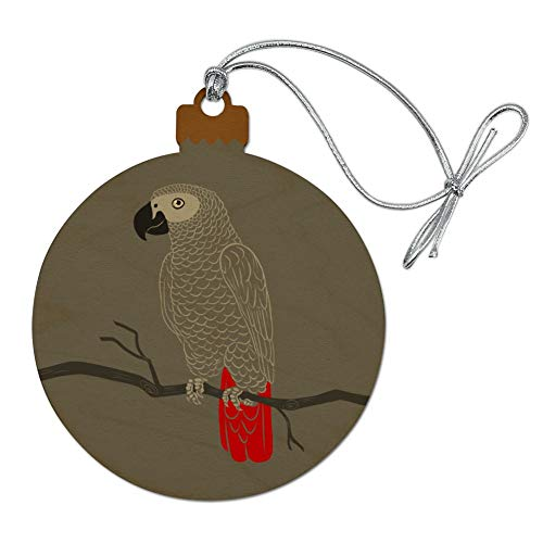 GRAPHICS & MORE African Grey Parrot Bird Pet Wood Christmas Tree Holiday Ornament
