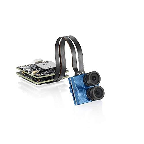 Telecamera per RC Quadcopter 4K 30fps Dual Lens 1200TVL Super WDR WiFi mini FPV telecamera registrazione HD DVR si raddoppia audio OSD for RC Racing Drone ( Colore : Blu , Dimensione : 4K 30fps )