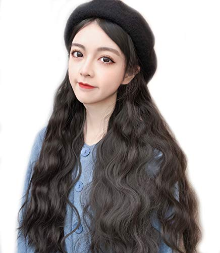 Bailey hat female autumn and winter fashion wild long curly hair with hair one fashion wig hat Dark brown