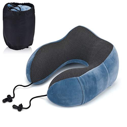 Boji Almohada de viaje para el cuello en forma de avión, espuma viscoelástica, función de apoyo de 360°, para adultos y niños, apoyo cervical ergonómico en forma de U para viajes