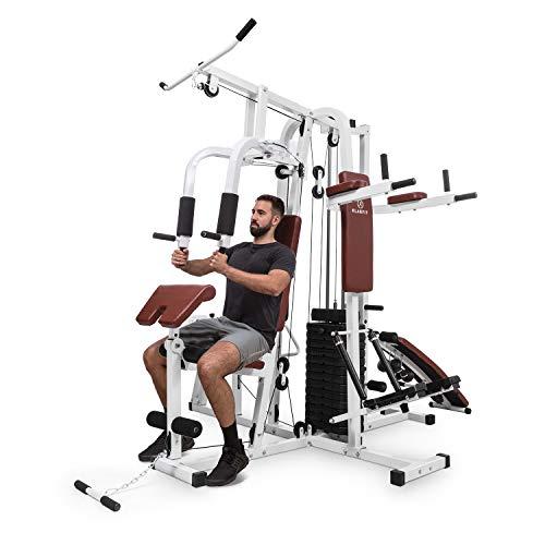 Klarfit Ultimate Gym 9000 - Estación de Entrenamiento, paralelas, Banco declinado, Escalera, Curl, Prensa para Pierna, contractora y jalones, más de 100 Ejercicios para 2 Personas, MAX. 150kg, Blanco