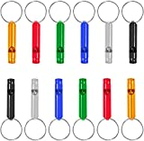 Set of 12 Extra Loud Whistles for Camping Hiking Hunting Outdoors Sports and Emergency Situations, Sturdy but Light Aluminium Key Chain Signals
