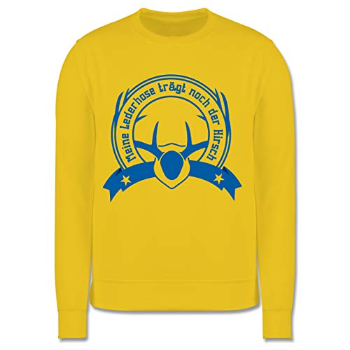 Shirtracer Oktoberfest Kind - Meine Lederhose trägt noch der Hirsch - 116 (5/6 Jahre) - Gelb - Lederhose - JH030K - Kinder Pullover